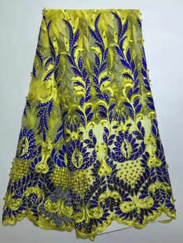 High Quality Nigerian Lace Fabrics 2019 With Stones African French Net Lace Fabric Embroidered Tulle Mesh Lace YELLOW D1086
