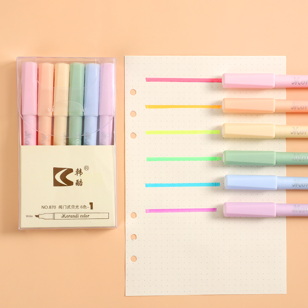 6pcs/set Creative Candy Color Morandi Fluorescent Pen Kawaii Highlighter Color Marker Pen  Steel Marker Art Supplies