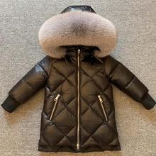 Children Big Fox Fur Collar Coats Boy Girls Thicker Warm Hooded Outerwear Russia Winter Snow Wear Parkas Dwon Jacket Y3613