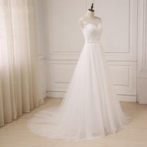 Image 4 - Jiayigong זול תחרה חתונה שמלת O צוואר טול Applique Boho חוף כלה שמלת כלה בוהמית שמלות Robe De Mariage