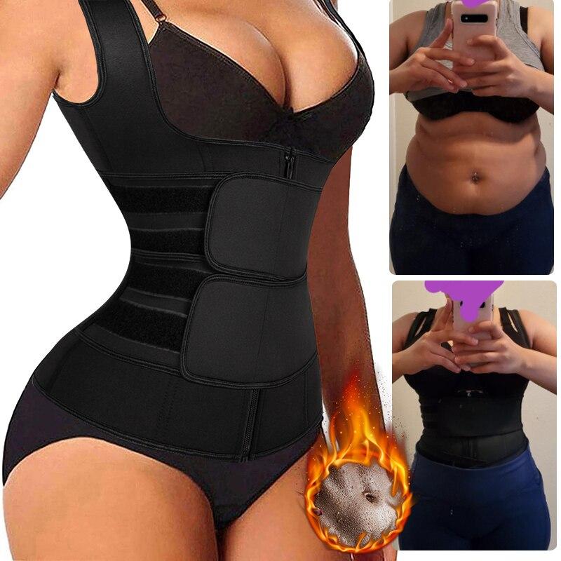 Women Waist Trainer Corset Zipper Vest Neoprene Body Shaper Cincher Tank Top With Adjustable Straps Waist Shapewear