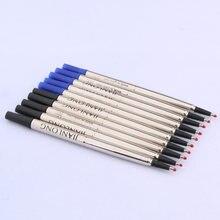 Alta qualidade 0.5 rollerball caneta tinta recargas 5pc azul assinatura preto caneta de tinta aço inoxidável à prova dwaterproof água material escolar escritório