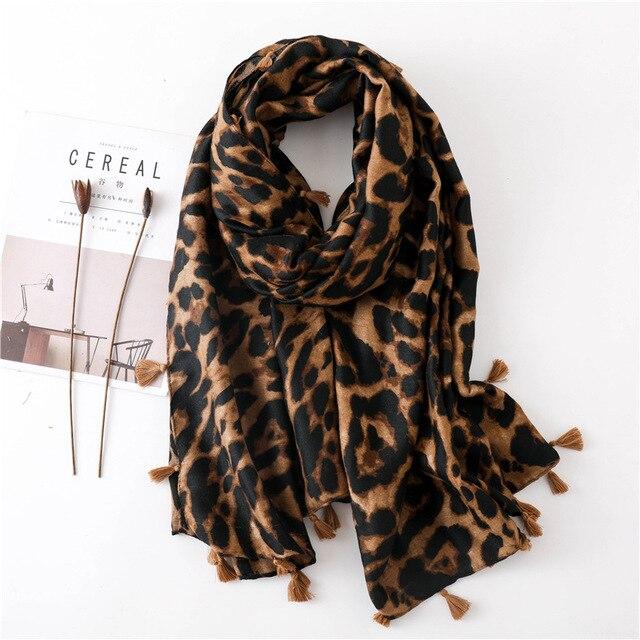 ليوبارد وشاح للنساء المتضخم الفهد الحيوان طباعة التفاف شال خفيفة الوزن الأوشحة