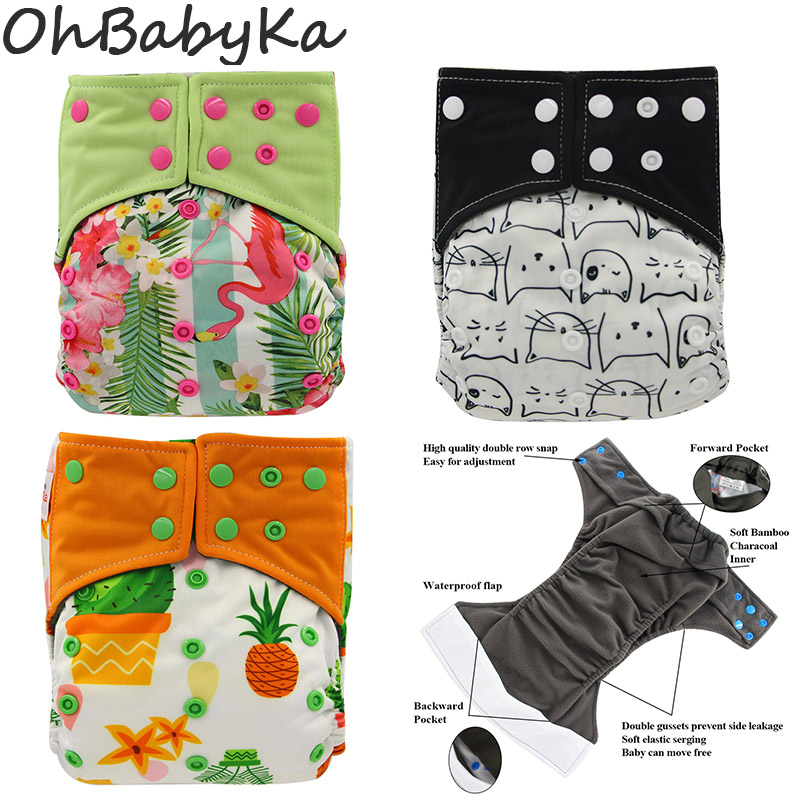 Ohbabyka Adjustable Suede Cloth Diaper With Pockets And Snap Washable Baby Cloth Diaper Animals Print Reusable Cloth Nappy Pants