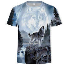 Wolf Pattern 3D printed t-shirts digital Printing Leisure Time Mens Wear Round Neck tshirt streetwear t shirt mens tee