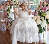 Luxury Baptism Dresses for Girls Jewel Neck Lace Appliques Beaded Long Christening Gown With Hat Top Quality