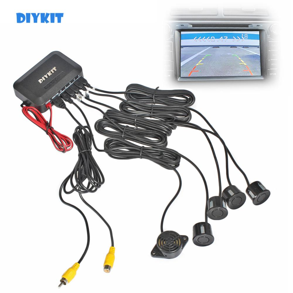 DIYKIT Car Reverse Video Parking Radar 4 Sensors Rear View Backup Security System Sound Buzzer Alert Alarm for Camera Monitor