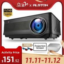 بروجيكتور ALSTON M5 M5W عالي الدقة 1080P بروجيكتور 4K 6500 لومن سينما بروجيكتور متعاطي المخدرات يعمل بنظام الأندرويد واي فاي وبلوتوث HDMI VGA AV USB مع هدية