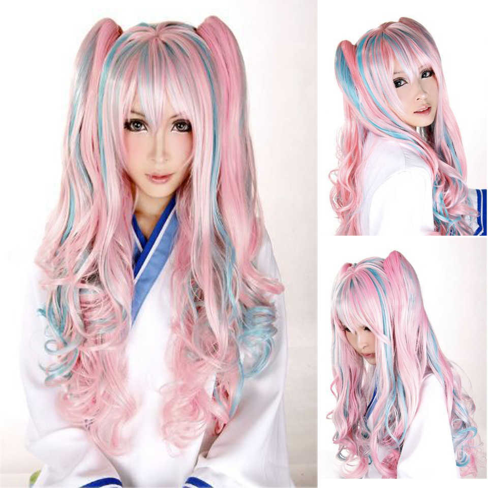 MEIFAN Heat Resistant Synthetic Hair Wig with Two Wavy Clip Ponytails Mixed Blue Pink Color Cosplay Anime Wigs for Woman
