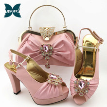 2020 Sexy Women Party Shoes and Bag Set with Shinning Crytal Peep Toe Sandals African Ladies Matching Shoes and Bag in Pink new gold office shoe and bag set women shoes and bag set in italy design italian shoes with matching bag set wedding dress shoes