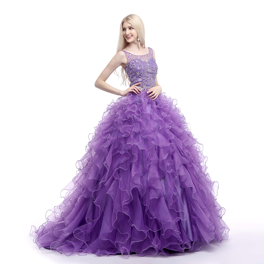 In stock 2019 Quinceanera Dresses Ball Gown Beading Ruffles Vestido De 15 Anos De Bandage Back Beaded Quinceanera Dress