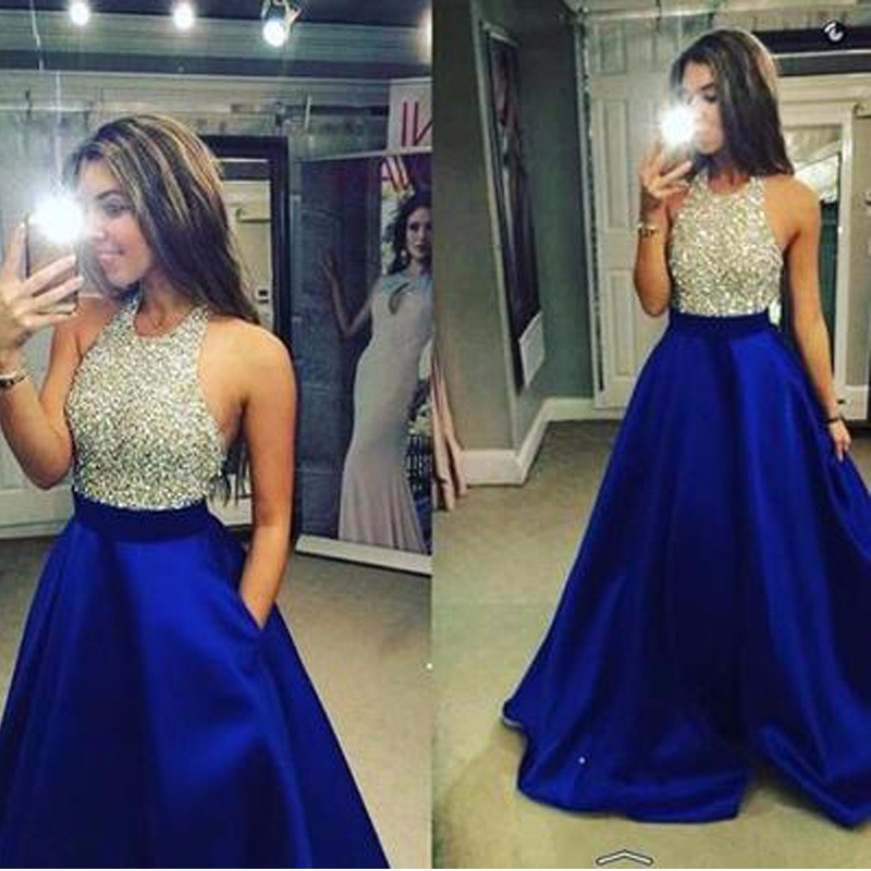 Halter Beaded Long Prom Backless Party Silver Sequins Black Royal Blue Satin Ball Evening Gown 2018 Mother Of The Bride Dresses