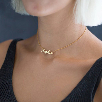 314L Stainless Steel Old English Crown Arabic Cursive Handwriting Nameplate Personalized Custom Name Necklace Birthday Gifts