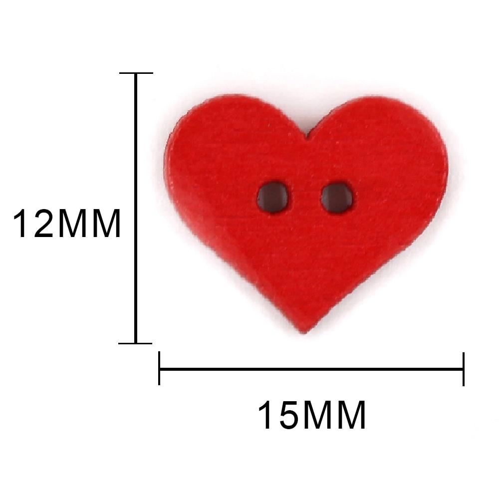 50 шт. 15x12 мм красная кнопка сердца для детей 2 отверстия декоративные деревянные кнопки для Одежда Аксессуары для шитья предметы для скрапбукинга DIY
