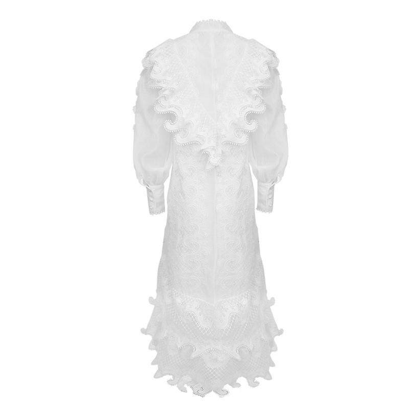 Novelty Designer Women Flower Embroidery Dress Fashion Cutwork Long Sleeve Lace Trim Dresses Z1217