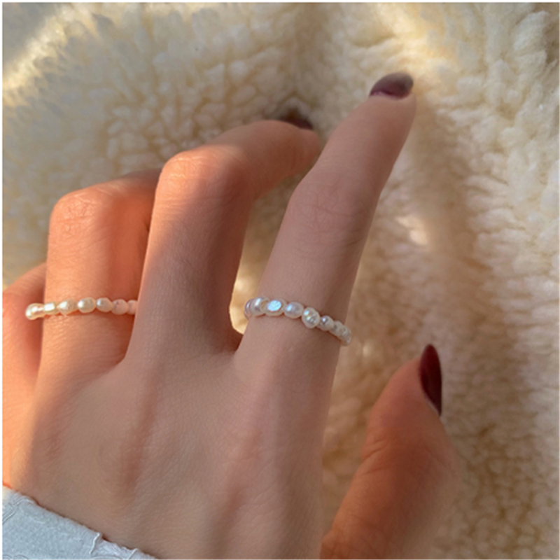 FFLACELL High Quality Natural Freshwater Pearl Multi Beaded Ring Finger Jewelry Continuous Circle Minimalist Ring Party Jewelry