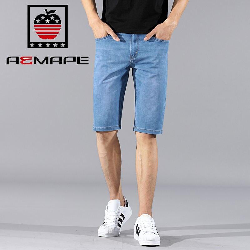 US IPhone Summer Men's New Style Korean-style Youth Cowboy Shorts Thin Medium Waist Casual Straight-leg Pants
