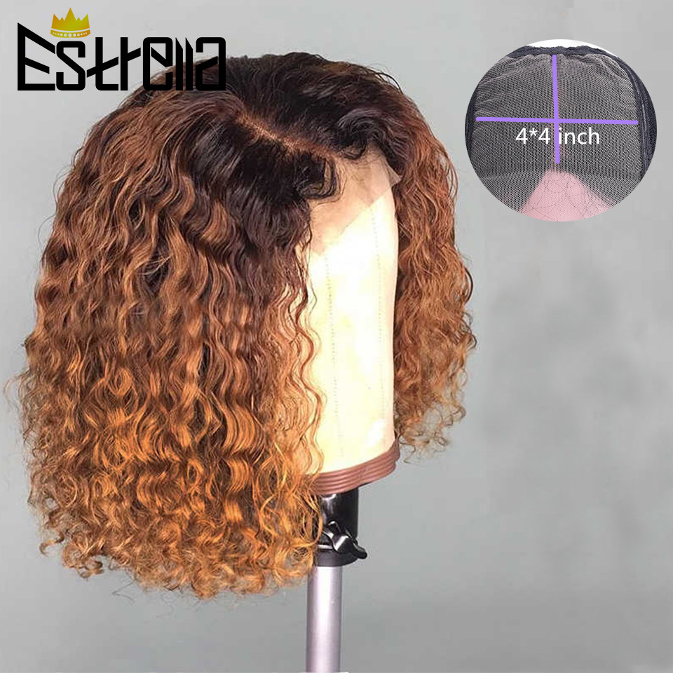 Curly Human Hair Wig Ombre 1B30 Short Bob Wig 180% Lace Closure Human Hair Wigs For Women Brazlian Pre Plucked Remy 4x4 Lace Wig