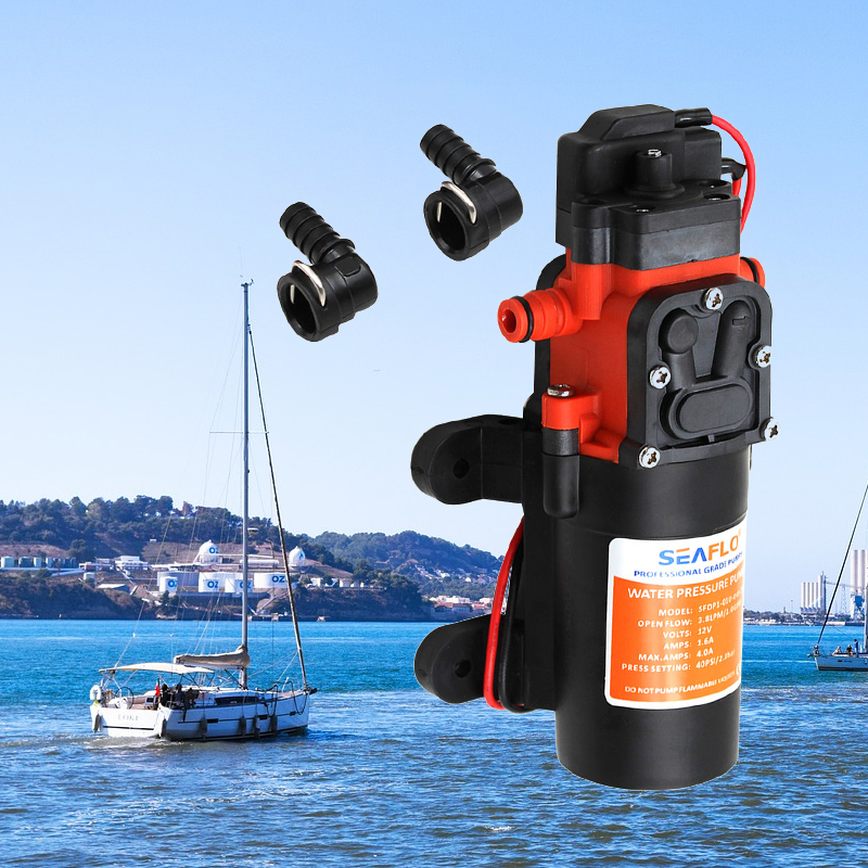 Boat Water Pump Diaphragm Water Pressure Pump 12V 1.2 GPM 35PSI Self-priming Water Pumps For RV Caravan Marine Yacht Motorhome