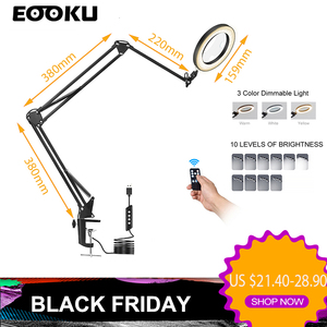 EOOKU 8W Table Lamp LED Three-Section Flexible Handle 3-Color 5x Magnifying Glass Reading Work Repair Welding