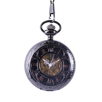 8940Pocket Watch sliver Mechanical pocket watch Petals Retro Fashion Simple Engraving Handmade Round Mechanical Watch Unisex