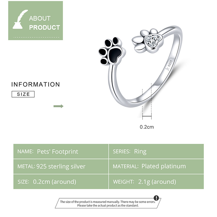 H3f78376b469e454bb2544a0075ae6e2bC - bamoer Sterling Silver 925 Black Enamel Dog Paw Open Adjustable Finger Rings for Women Anti-allergy Jewelry Accessories SCR605