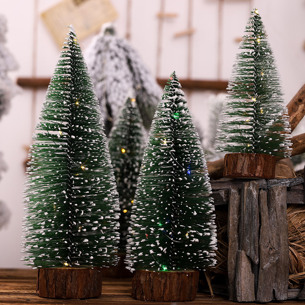 19 Years New Products Christmas Decorations Mini Shining Christmas Small Tree Bar Counter Decoration Desktop Ornament Stained Wh