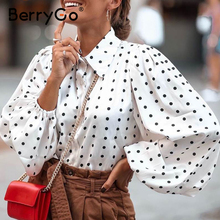 Shirt Top-Bubble-Sleeve Berrygo Chiffon High-Street-Style Winter Fashion Women's Autumn