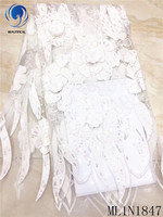 Beautifical african lace fabrics white 3d appliques lace fabric with sequins Fashion embroidery french lace bridal ML1N1847