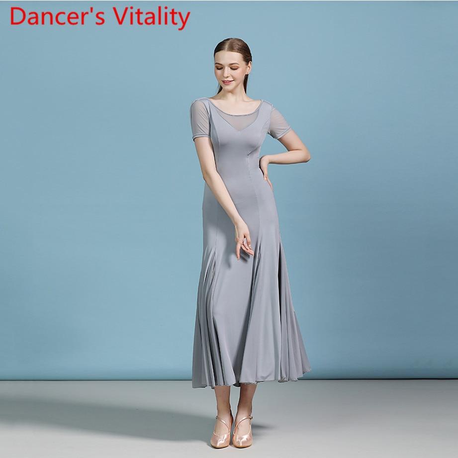 Adult Modern Dance Fashion Cut Out Big Hemline Dress Ballroom National Standard Waltz Jazz Dancing Race 2 Colors Practice Outfit