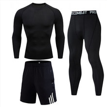Football suit sportswear jersey long T-shirt + leggings training base layer compression track field sport thermal underwear 4xl(China)