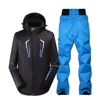 -30°C pure color Men Snow Suit winter outdoor sports wear snowboarding clothes waterproof windproof Warm ski jackets + Snow pant