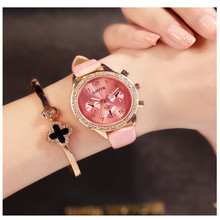 Dropshipping Women Multi-dial Genuine Leather Wristwatches Fashion Casual Watch Women's Quartz Watches Clock Relogio Feminino women men fashion creative genuine leather bracelet watches casual quartz watch female male clock dropshipping