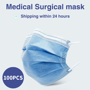 Disposable Medical surgical Mask elastic ear loop 3-layer non-woven dust proof and breathable mouth face mask