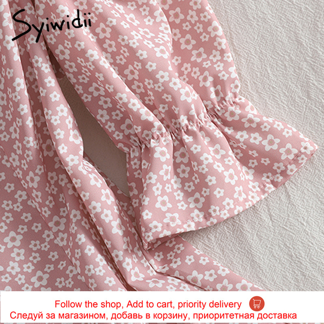 Syiwidii Floral Print High Waist Dresses Women Breasted Puff Sleeve Square Collar Zipper A-line Clothing 2021 Summer Fashion New 6