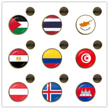 National Flag Glass Cabochon Brooches Palestine,Thailand,Cyprus,Egypt,Colombia,Tunisia,Austria,Iceland,Cambodia Collar Pins Gift(China)