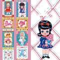 3*5 Cm Retro Lolita Ragazza Del Fumetto di Kawaii Ragazza Modello Quadrato Bordo Muppet Bambini Washi Nastro Adesivo Fai da Te Scrapbookin Adesivo nastro