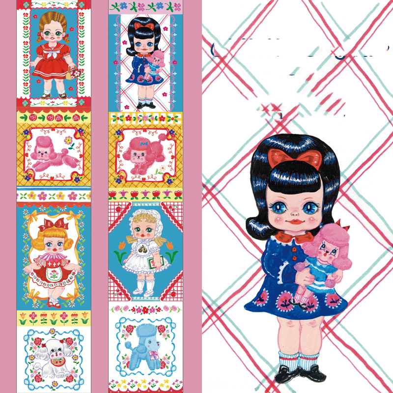 3*5cm Retro Lolita Girl Kawaii Cartoon Girl Pattern Square Border Muppet Babies Washi Tape DIY Scrapbookin Masking Tape