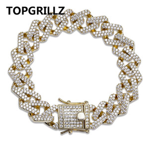 Image 1 - TOPGRILLZ Personality Hip Hop/Punk Mens Bracelets Iced Out Cubic Zircon Miami Curb Cuban Link Chain Bracelet Jewelry Gifts