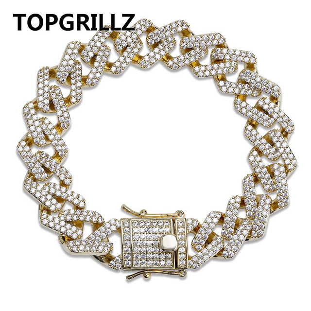 TOPGRILLZ Personality Hip Hop/Punk Mens Bracelets Iced Out Cubic Zircon Miami Curb Cuban Link Chain Bracelet Jewelry Gifts