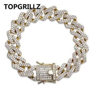 Image 1 - أساور للرجال من TOPGRILLZ بشخصية على شكل هيب هوب/بانك مثلجة من الزركون المكعّب على شكل ميامي سوار على شكل وصلة الكوبي مجوهرات هدايا