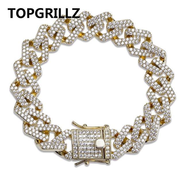أساور للرجال من TOPGRILLZ بشخصية على شكل هيب هوب/بانك مثلجة من الزركون المكعّب على شكل ميامي سوار على شكل وصلة الكوبي مجوهرات هدايا
