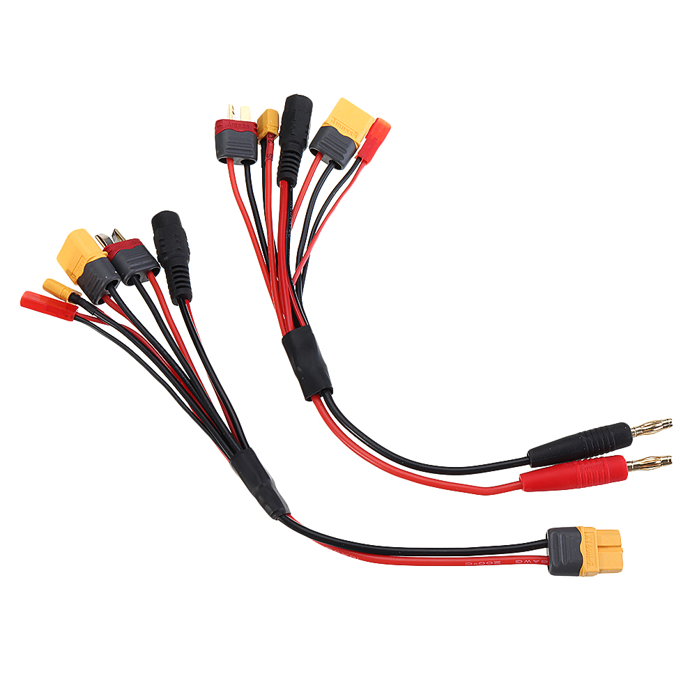 20cm 20AWG 4.0mm Banana Plug To XT60 XT30 DC5.5 T Plug Charger Adapter Cable For IMAX B6 ISDT Charger RC FPV Racing Drone