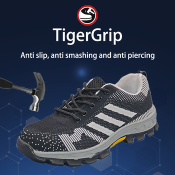 TigergripLightweight Breathable Men Safety Shoes Steel Toe Work Shoes For Men Anti-smashing Construction Sneaker With Reflective lightweight breathable men safety shoes steel toe work shoes for men anti smashing construction sneaker