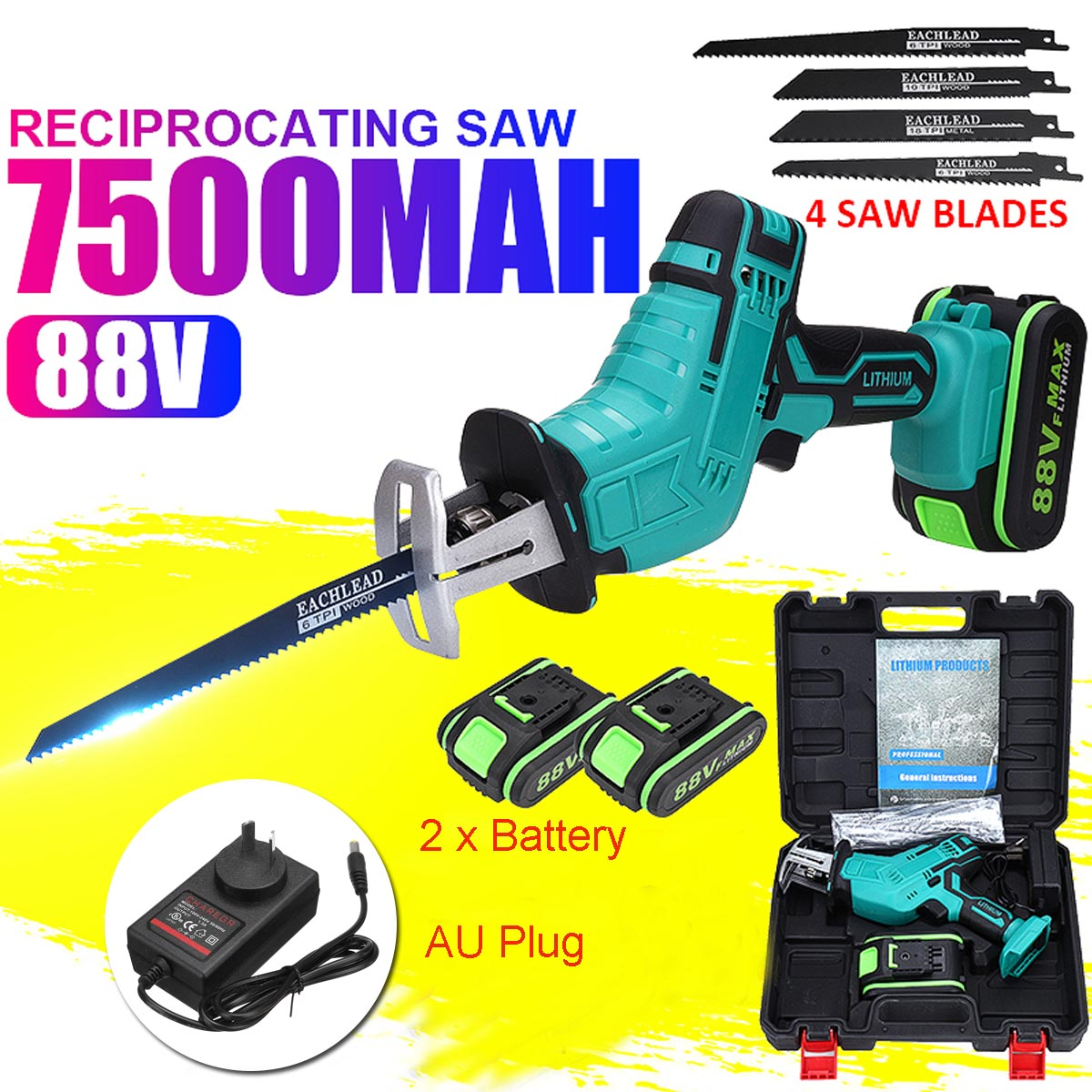88V 7500mAh Battery Cordless Reciprocating Saw Wood Metal Cutting Saw Saber Saw Portable Electric Saw Rechargeable Power Tool