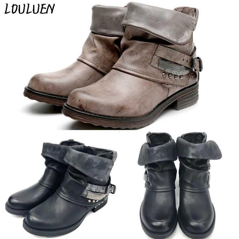 Louluen 2019 Laarzen Womens Dames Casual Platte Lederen Retro Lace-Up Side Rits Ronde Neus Schoen Laarzen Romeinse Laarzen bottes Mujer