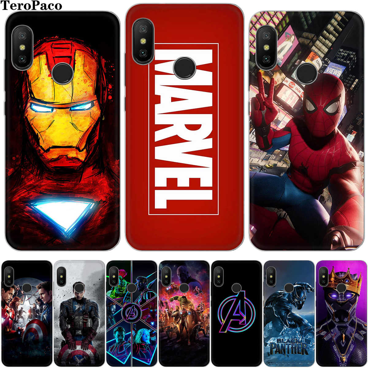 Marvel Avengers Spiderman Iron Kasus Silicone Lembut untuk untuk Xiaomi Redmi 4 4X 4A 5 5A 6 6A 7 7A note6 Note8 Pro Note7 Cover Funda