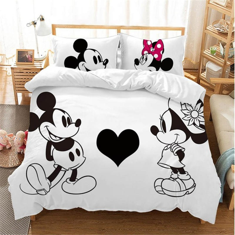 Disney Black And White Mickey Minnie Mouse Bedding Sets Boy Girl Adult Twin Full Queen King Bedroom Decoration Duvet Cover Set