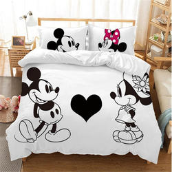 Disney Hitam dan Putih Mickey Minnie Mouse Set Tempat Tidur Anak Gadis Dewasa Twin Penuh Ratu Raja Dekorasi Kamar Tidur Duvet Cover set