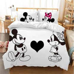 Juegos de ropa de cama de Mickey Minnie Mouse blanco y negro de Disney niño niña adulto doble completo reina rey dormitorio decoración edredón conjunto